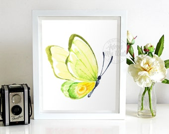 Butterfly print, yellow, green, watercolor, wall decor, wall art, painting, nursery, home decor, watercolour, butterfly wall art