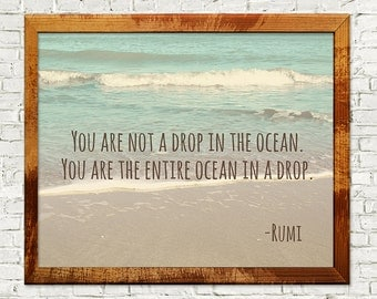 Rumi quote, Rumi, inspirational quote, Rumi quote print, Rumi print, You are not a drop in the ocean, wall art, instant download, home decor