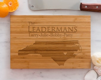 North Carolina Personalized Cutting Board Men Chef Dad Mom Gift Initials Home State Wedding Anniversary Kitchen Decor Shower Family Monogram