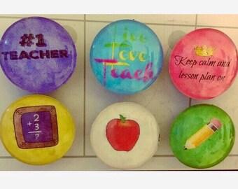 Teacher glass magnets, 1 inch (25mm) set of 6
