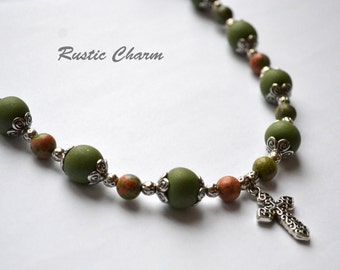 Unakite and Polymer Cross Necklace