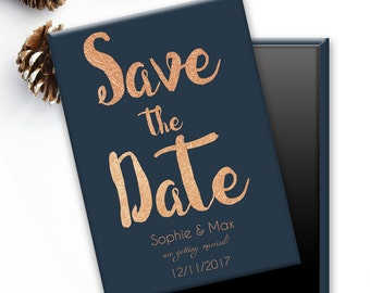 Save the Date Wedding Magnets - Midnight Copper
