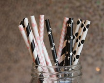 Paper Straws/Drinking Straws/Pink and Black Party Paper Straws/Chevron Straws/Dot Straws/Heart Straws/Themed Paper Straws