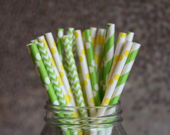 Yellow and Green Paper Drinking Straws/Birthday Party Straws/Paper Straws/Green Polka Dot Straws/Yellow Striped Straws/Drinking Straws