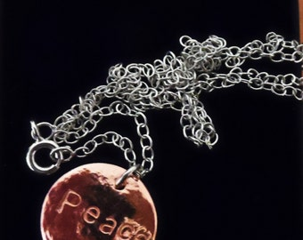 PN15- Textured copper disc and chain