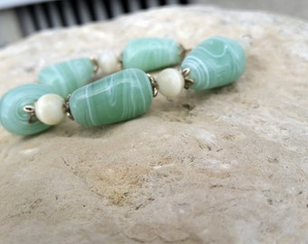 Pale Green Rock Bead Bracelet