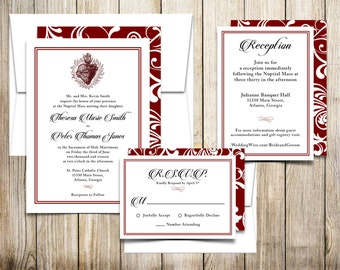 Digital Download U2014Sacred Heart Catholic Wedding Invitations