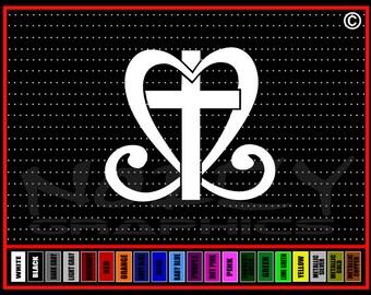 Cross Heart #1 Christian Car Truck Window Vinyl Sticker Decal