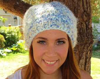 knit womens hat, chunky womens hat, womens knit slouchy hat, womens blue hat, slouchy hat, ready to ship, chunky slouchy hat, white hat