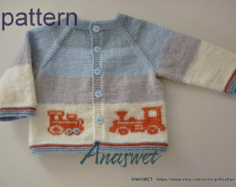 Knitting baby pattern.Pattern baby crdigan.Baby cardigan with locomotiv.Knitted baby boys cardigan.knitted baby clothesPattern PDF