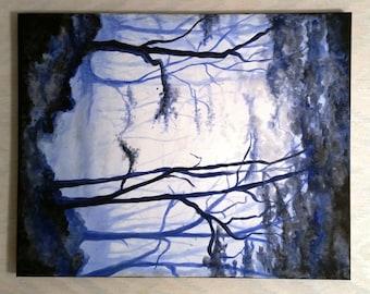 Forest Blue, Misty, Landscape, Woodland, Modern Art, Original Painting, Acrylic