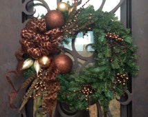 Elegant brown tan and copper evergreen wreath