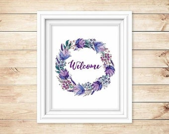 "Instant Digital Download Art, 8 x 10, ""Welcome,"" Easy Home Decor, Housewarming Gift, Nature Inspired"