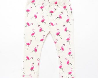 Baby girls flamingo print leggings, Toddler Girl, Girly baby pants, sized from 0-3 months upto 18-24 months