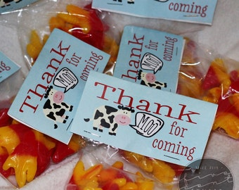 Thank Moo For Coming Barnyard Bash Party Treats Favor Bag Topper