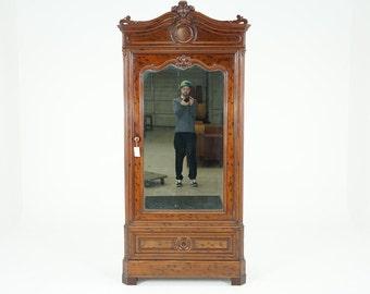 C2575 Antique French Walnut Armoire Wardrobe Cabinet