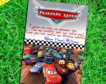 Cars Thank You Card - Cars Thank You Note - Disney Cars Thank You - Lightning McQueen Thank You Card