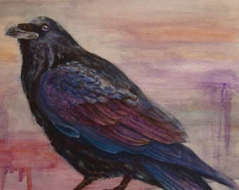 Crow In The City - Oil Painting - Hand Painted Raven - Art gift