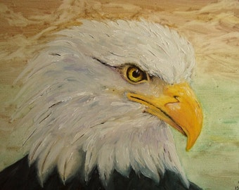 Bald Eagle - Oil Painting - Hand Painted Eagle - Bird of Prey Painting