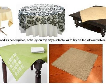 Custom Table Topper Tablecloth Napkin with your length, width and your Fabric