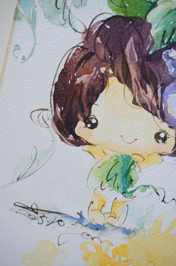 Original Watercolor Painting Flower series-f007 (7.5 x 9.8 inches)