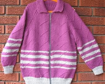 Size 10-12  Purple/ Gray Zippered Sweater