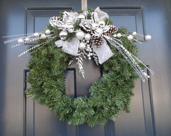 Silver wreath, Holiday wreath, Front door wreath, Christmas wreath, Winter wreath, Christmas Decoration