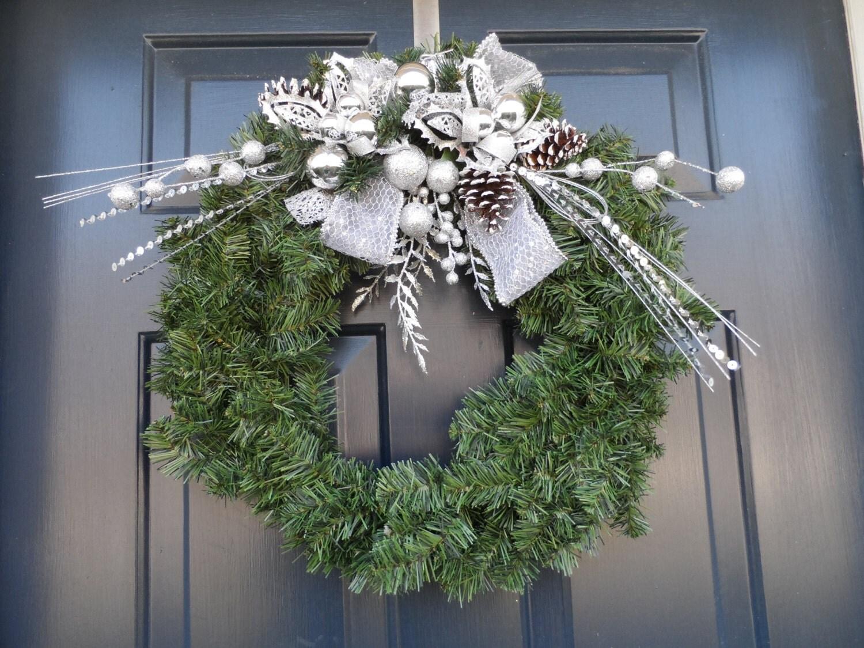 Silver wreath holiday wreath front door wreaths christmas for Front door xmas wreaths