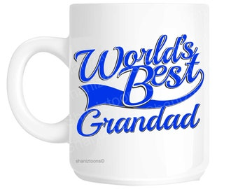 Grandad World's Best Blue Father's Day Novelty Gift Mug shan816