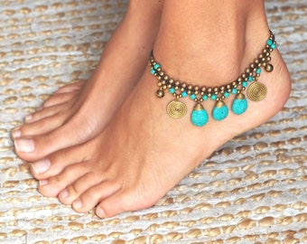 Ankle Bracelet // Turquoise Anklets // Turquoise Ankle Bracelet // Anklet Turquoise // Oriental Jewelry // Beach Anklet // Summer Jewelry