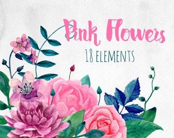 Pink flowers clip art Watercolor boho flowers clipart Pink floral Botanical clipart Hand painted flower arrangements Pink wedding clipart