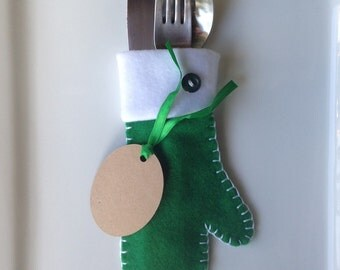 Handmade felt mittens silverware holders. Set of 8.