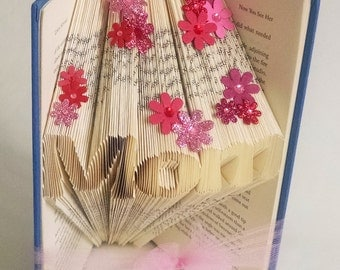 Christmas Gift for Mom - Folded Book Art Sculpture - Gift Ideas for Mom - Gift from Daughter