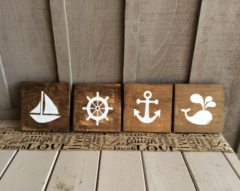 Nautical signs (set of four) // nautical // ship wheel // whale // anchor // sail boat // marine // nursery // nursery decor