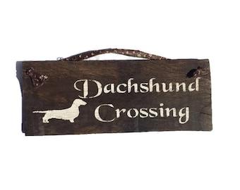 Dachshund Crossing Reclaimed Wood Sign - Dachshund Sign - Weiner Dog Decor - Barn Wood Decor - Dog Sign - Doxie Wall Art - Doxie