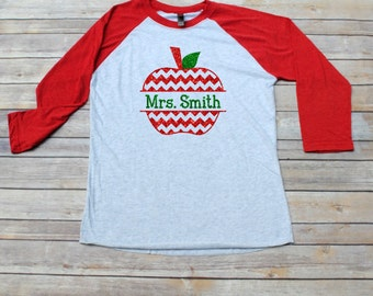 SALE!! Teacher Shirt, Monogrammed Apple Raglan 3/4 Sleeve Shirt, Back to School, Teacher Gift, Teacher Christmas Gift, Teacher Monogram