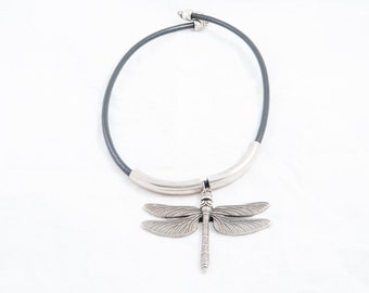 21. with Dragonfly leather necklace