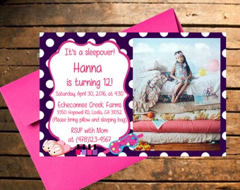 Downloadable Sleepover Themed Birthday Invitation with Photo