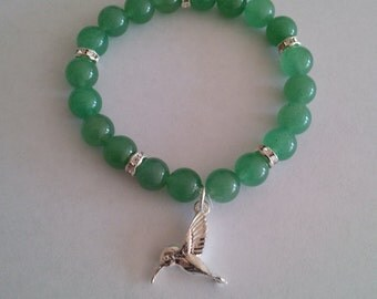 Green Aventurine Bead Stretch Bracelet w/ Silver Plated Hummingbird Charm