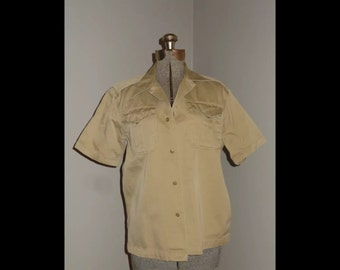 WWII 1940's Military Army, Size Small Men's Khaki Shirt
