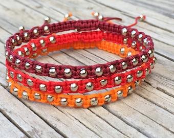 Beaded Bracelet Set, Adjustable Cord Macrame Friendship Bracelet