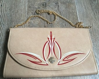 Vintage Pinstriped Leather Handbag (Beige)