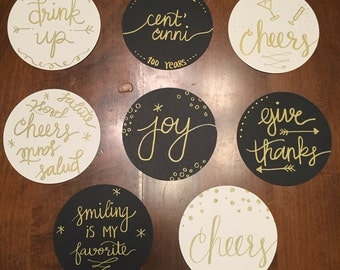 Set of 4 Hand-Lettered Coasters - Design of Choice