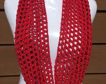 Summer Scarf, Red Scarf, Spring Scarf, Cotton Scarf, Lightweight Scarf, Crochet Scarf, Fashion Scarf, Spring Summer Scarf, Loop Scarf