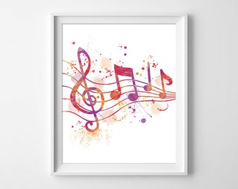 Music illustration, art notes of music, solfeggio drawing, clef art
