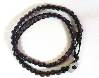 Real amethyst and genuine leather two wrap bracelet