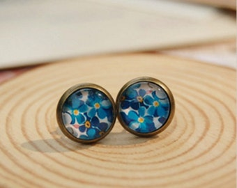 Spring Retro Blue & Yellow Floral Handmade Vintage Boho Glass Stud Earrings. Jewellery Gift for Women, Girlfriend, Wife, Fiancee, Girl.