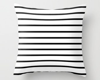 Black and White Pillow - Black and White Striped Pillow - Modern Decorative Pillows - Velveteen Pillow Cover - Stripes - Cushion Cover