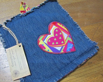 One-of-a-kind Recycled Denim Potholder with Embroidered Heart