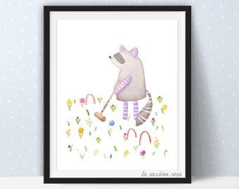 Raccoon art, Woodland nursery decor, Baby raccoon print, Animal nursery art, Watercolor Raccoon wall art